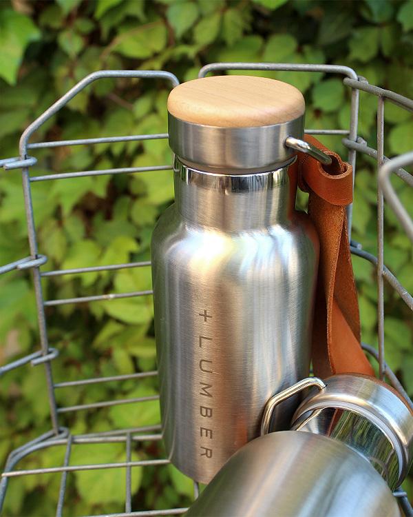 ■「THERMO BOTTLE 350ml」ステンレス素材に銘木をプラスした木製水筒・サーモボトル・タンブラー/インスタグラム人気モデル・コーディネーターも愛用