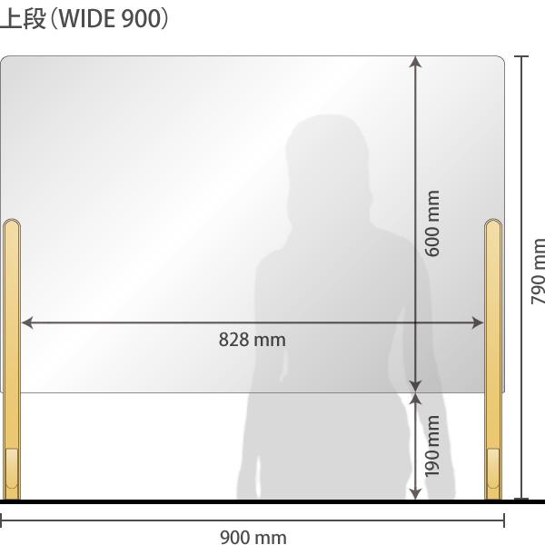 【900mm】飛沫感染防止対策パネル・パーテーション 幅900mm(コロナウイルス対策・設置簡単・3段階調整)