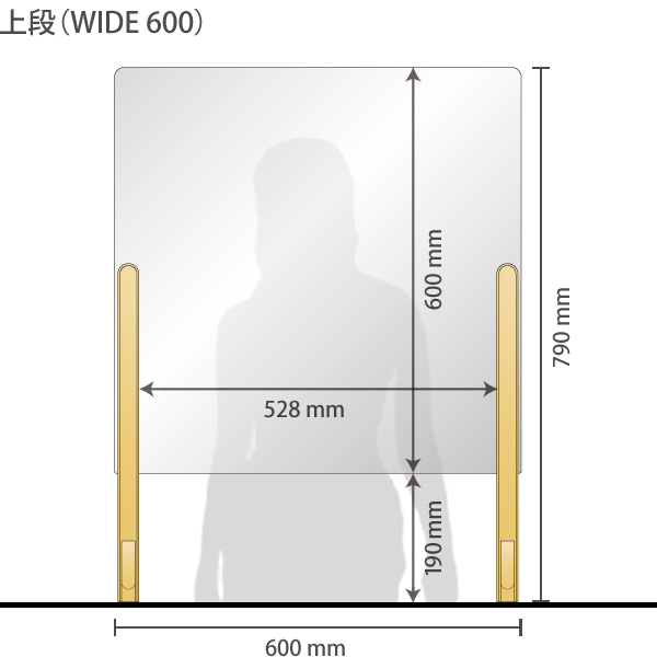 【600mm】飛沫感染防止対策パネル・パーテーション 幅600mm(コロナウイルス対策・設置簡単・3段階調整)