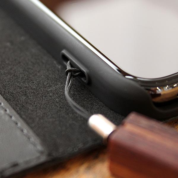 ■【SE2/8/7/6】【プレミアム】「iPhone SE(第2世代)/8/7/6 FLIPCASE(黒檀)」木目の美しさをシンプルに表現した手帳型スマートフォンケース【Qi対応】