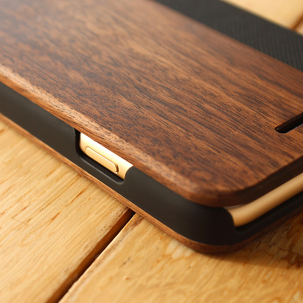 ■【SE2/8/7/6】【プレミアム】「iPhone SE(第2世代)/8/7/6 FLIPCASE(黒檀)」木目の美しさをシンプルに表現した手帳型スマートフォンケース