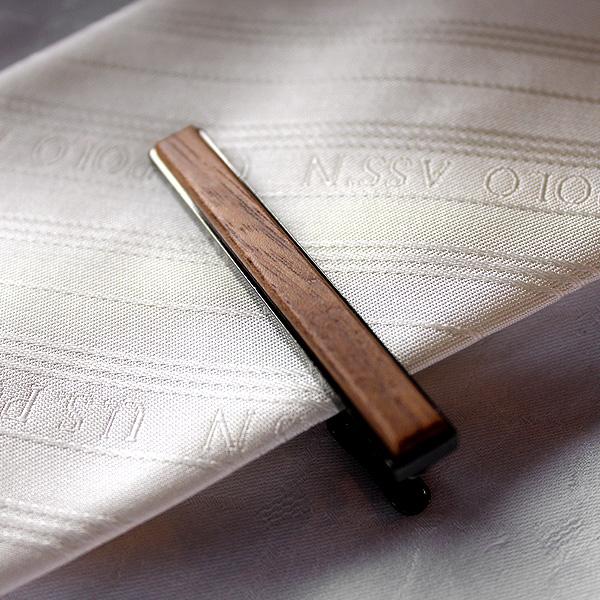 ■【プレミアム】「TIE PINS(黒檀)」本物の木を組み合わせたおしゃれな木製ネクタイピン