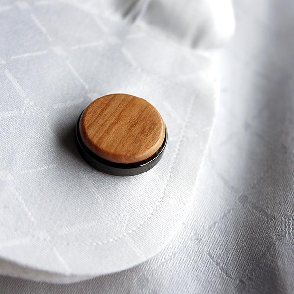 ■【プレミアム】「CUFF LINKS(黒檀)」本物の木を組み合わせたおしゃれな木製カフス(カフリンクス)