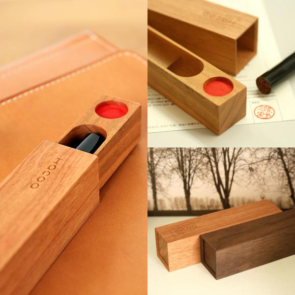 【プレミアム】「SealCase<黒檀>」動きが心地いい 木製印鑑ケース