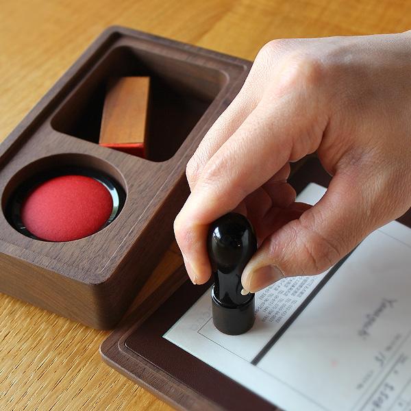 【SALE】【L】「Stamp Case Lサイズ(代表者印・法人角印)」木と牛革の捺印マット付き印鑑ケース/北欧風デザイン