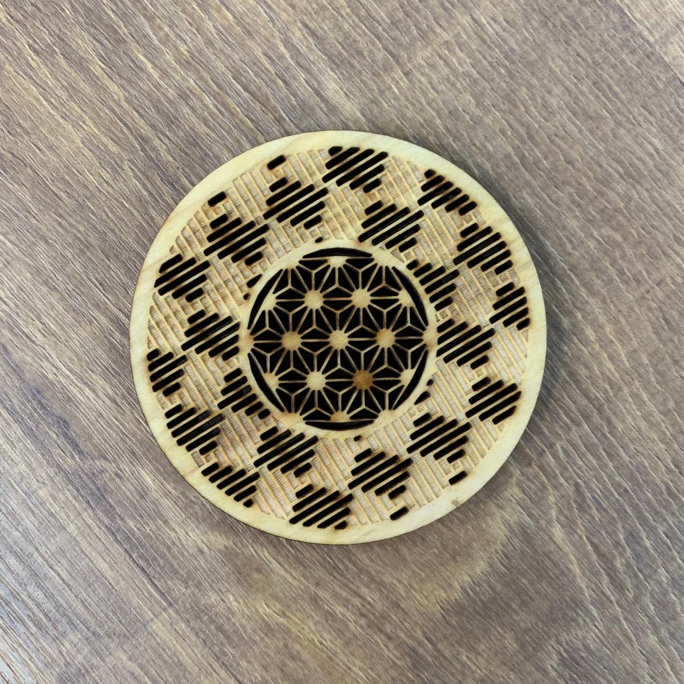 【レターパック便専用】伝統文様コースター 桝網代に麻の葉
