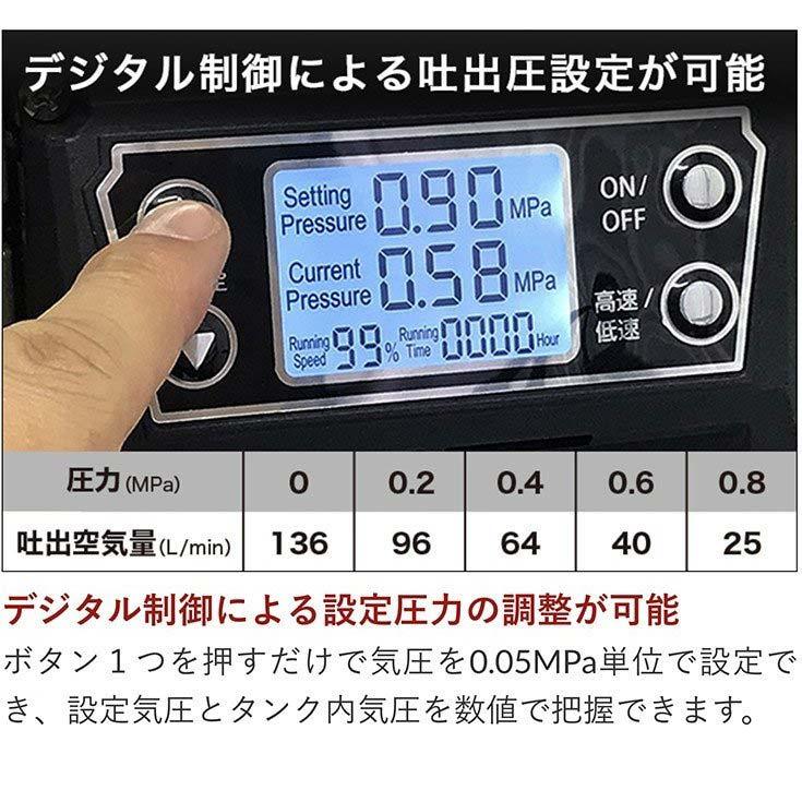 【アウトレット品 15%OFF】静音 ストレスフリー エアーコンプレッサー ハイブリッド 100V AC電源/バッテリー式 5Lタンク コードレス ブラシレス オイルレス 最大圧力0.9MPa HG-DC1090BT 【1年保証】