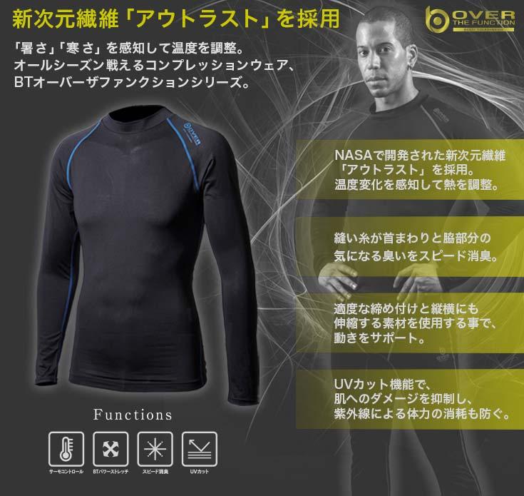 メンズ BTアウトラスト ロングスリーブ クルーネックシャツ ブラック×ブルー