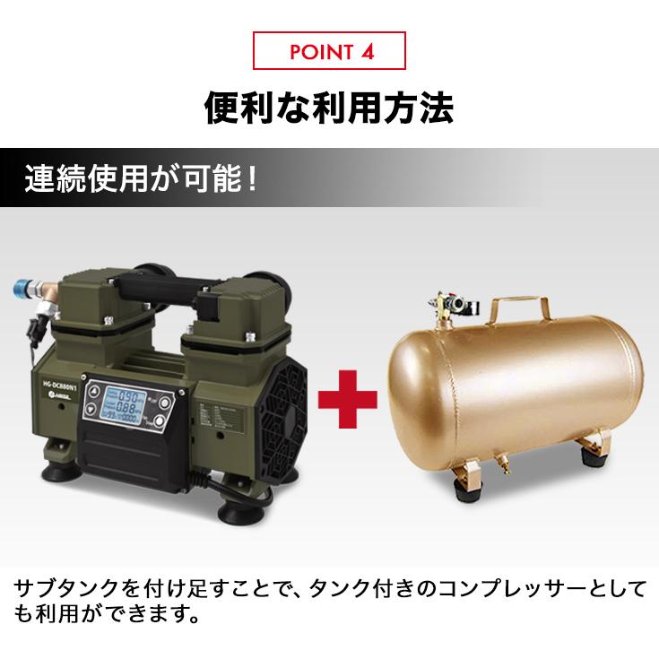 静音 エアーコンプレッサ 100V 最大圧力0.9MPa/HG-DC880N1【1年保証】