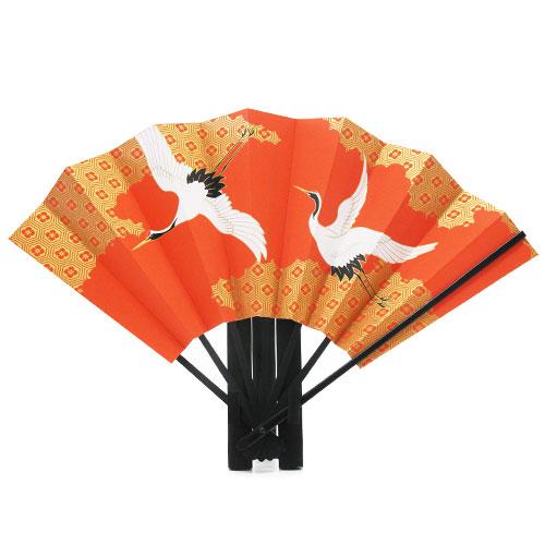 縁起物飾り扇子 「夫婦鶴(めおとづる)」 九寸