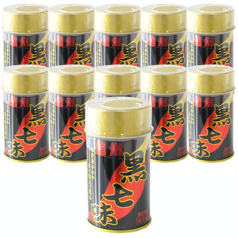 〔七味唐辛子〕小天狗 黒七味 10g(缶入) x 10缶セット