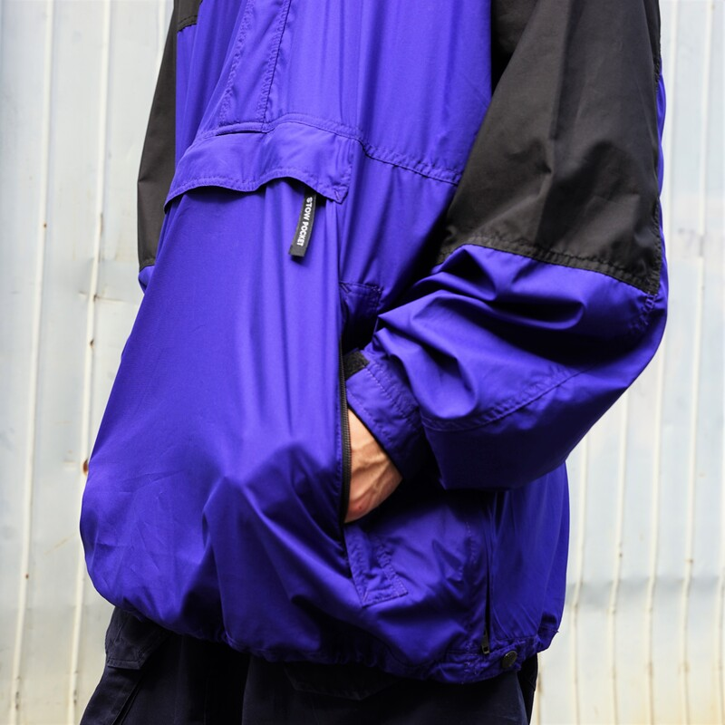 THE NORTH FACE / 1990's Vintage / Nylon Pullover/ Large / Black×Blue / Used