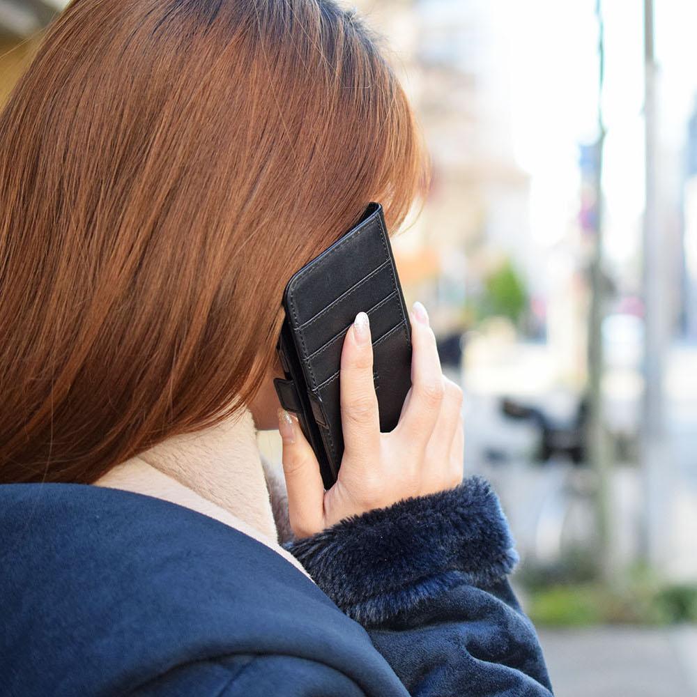 手帳型 牛革iPhoneケース Black Android対応 スマホケース【名入れ可】