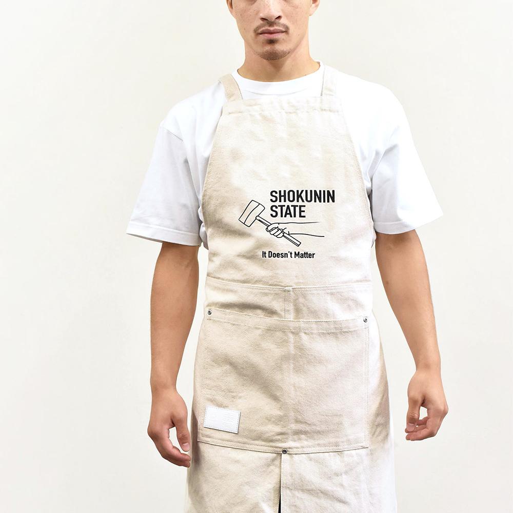 デニム / コットン プリントエプロン【325】