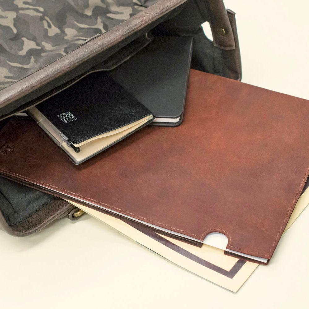 レザーA4ファイル Brown 本革 クリアファイル ステーショナリー ビジネス