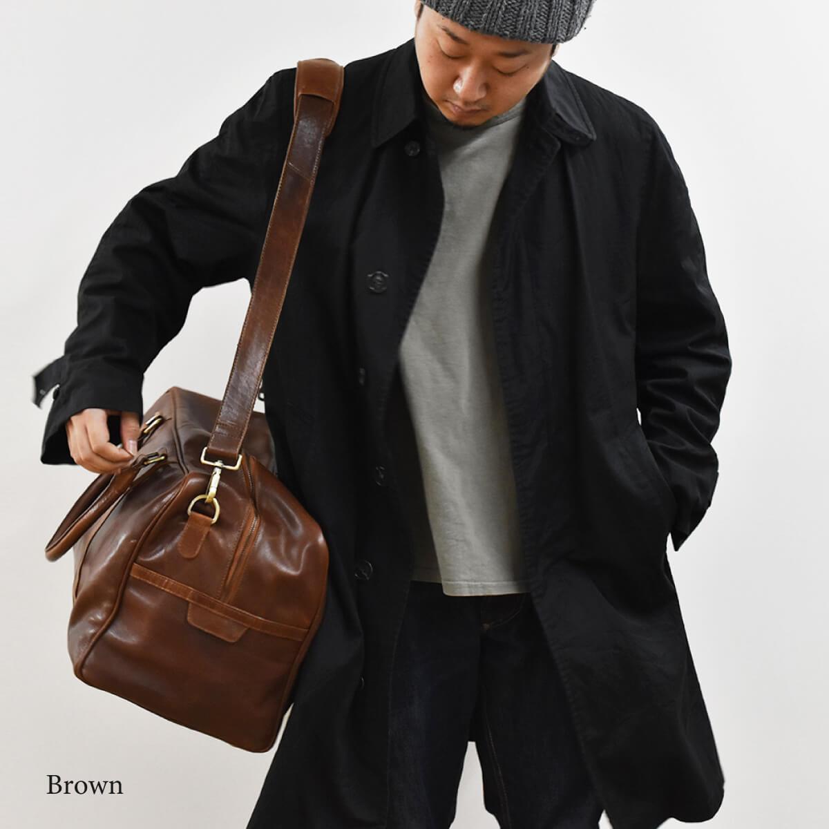 ボストンバッグ 本革 Brown ショルダーストラップ ゴルフバッグ