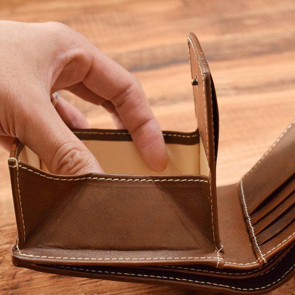 カウレザー二つ折り財布 Brown ビジネス レザーウォレット 【名入れ可】