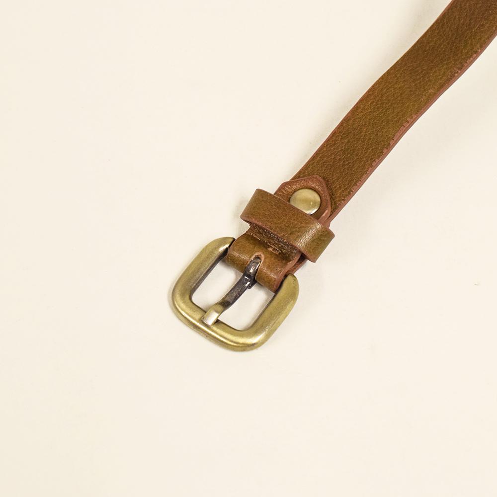 牛革ベルト 細タイプ ベジタブルタンニンレザー Brown 1.6cm 【名入れ可】