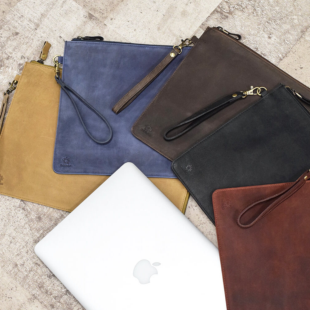 PCケース 13インチ MacBook クラッチバッグ A4ファイル Brown【名入れ可】