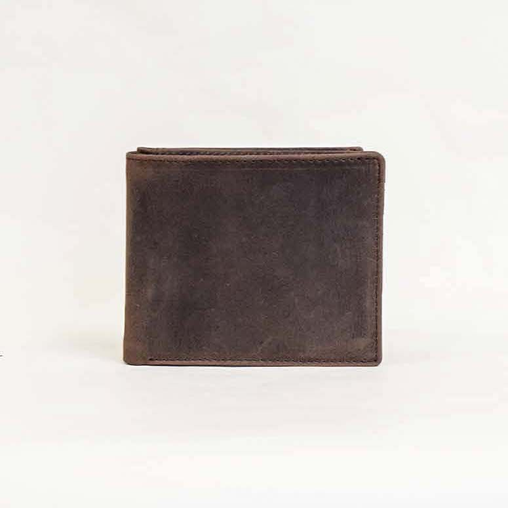 オールレザー コンパクト 二つ折り財布 Brown 【名入れ可】