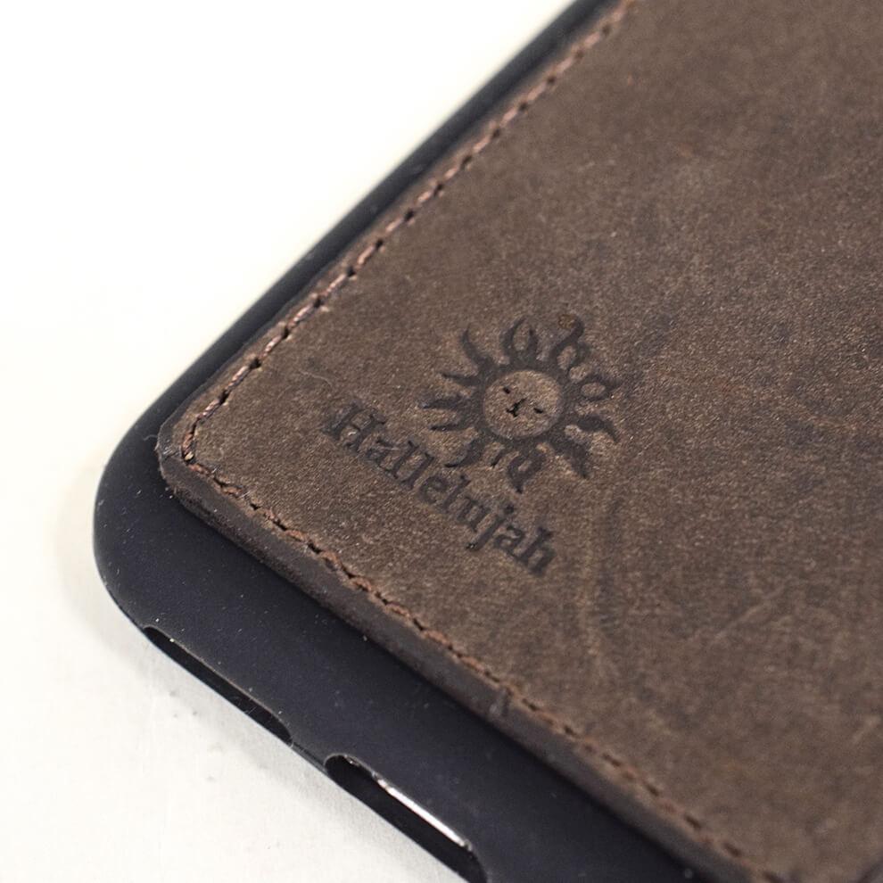 iPhoneX/XS ケース レザーカードケース Brown 【名入れ可】