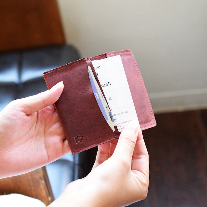 名刺ケース 4ポケット Brown 牛革 山羊革 名刺入れ カードケース 【名入れ可】