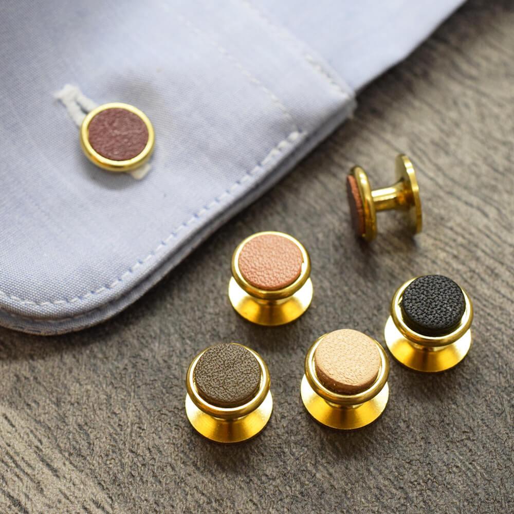 真鍮カフス ボタン 固定式 2個セット 本革