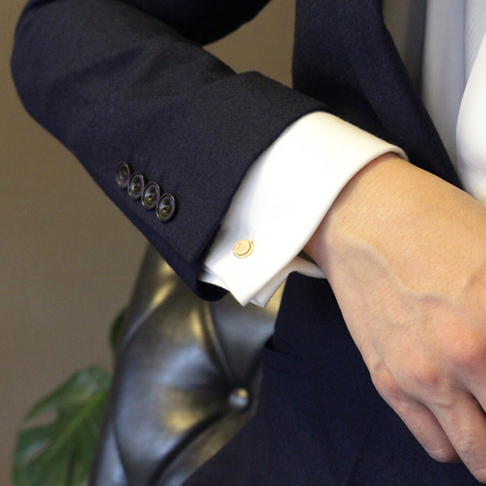 真鍮カフス ボタン イニシャル刻印 固定式 2個セット 本革