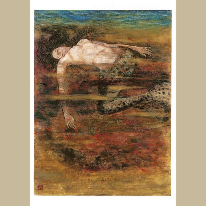 絵はがき (石本 正 「幡竜湖乙女の眠り」 2004(平成16)年)