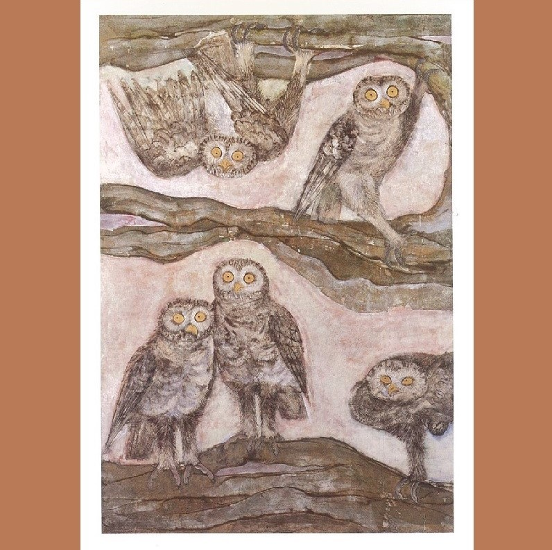 絵はがき (石本 正 「樹上熙々」 1958(昭和33)年)