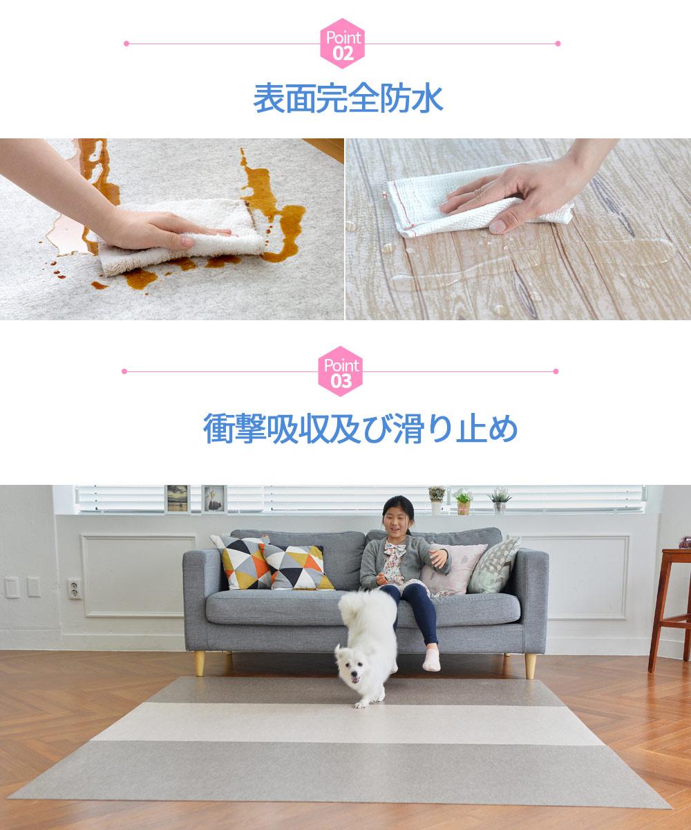 ペットマット  おくだけ吸着 滑り防止 防水マット Lサイズ 60x240cm 厚み約2mm 足腰の負担軽減 床マット  カーペット すべり止め  床暖房対応 日本製