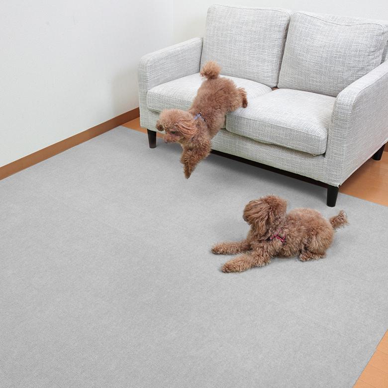 ペットマット おくだけ吸着 ペット用 撥水 滑り防止 ロング タイルマット 滑らない 犬用マット 60x300cm 厚み約4mm 2枚 滑り防止 床暖房対応 ズレない 日本製