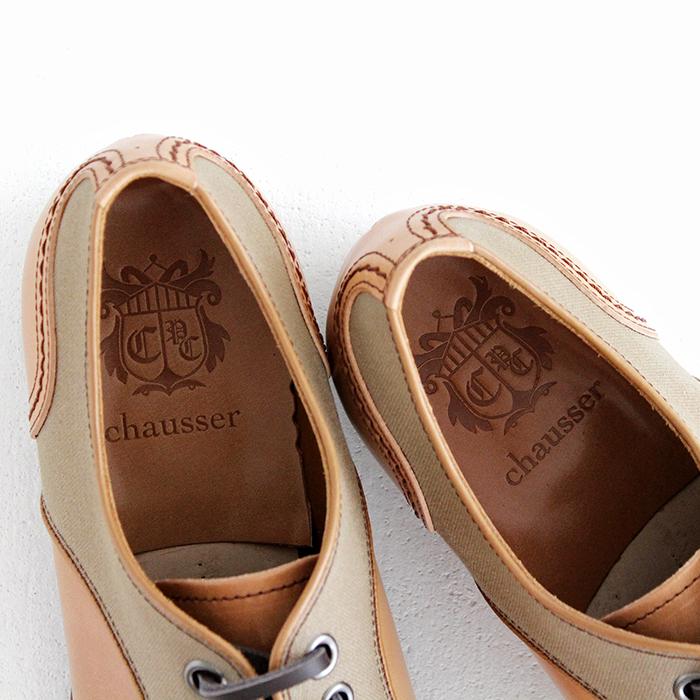 chausser ショセ ナチュラルコードバン プレーントゥレースアップシューズ C-740 コードバン×キャンバスモデル メンズ 靴