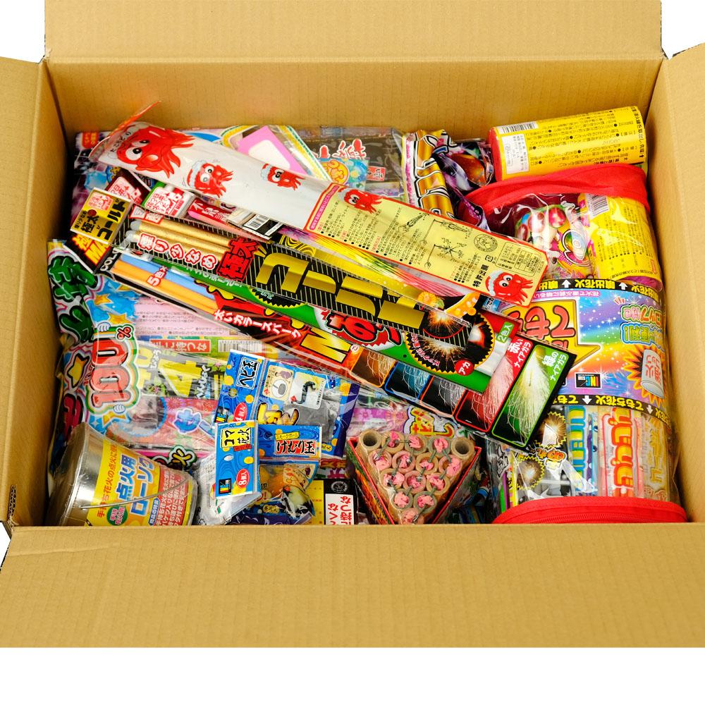 花火セットお徳用ボックス(手持ち、噴出、その他) キャンドル付き