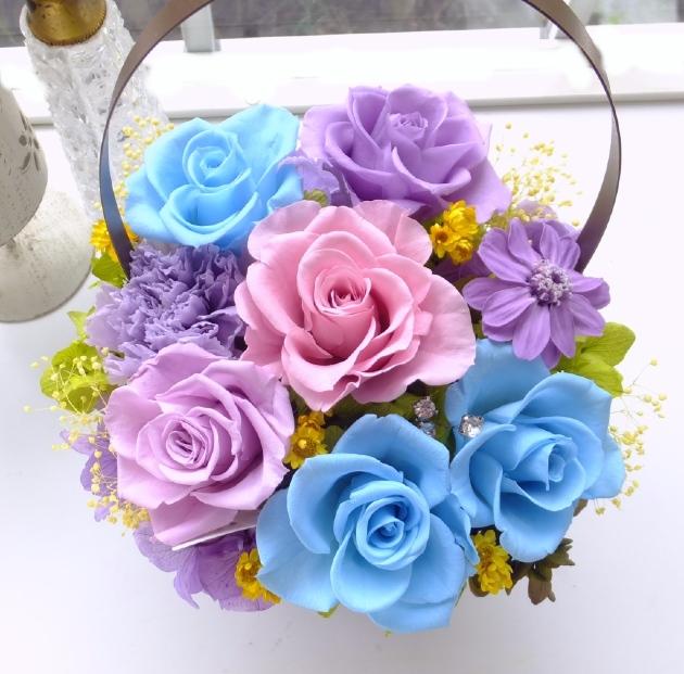 201003 ブルーと薄紫バラのケース入りアレンジ オーダーメイドプリザーブドフラワー