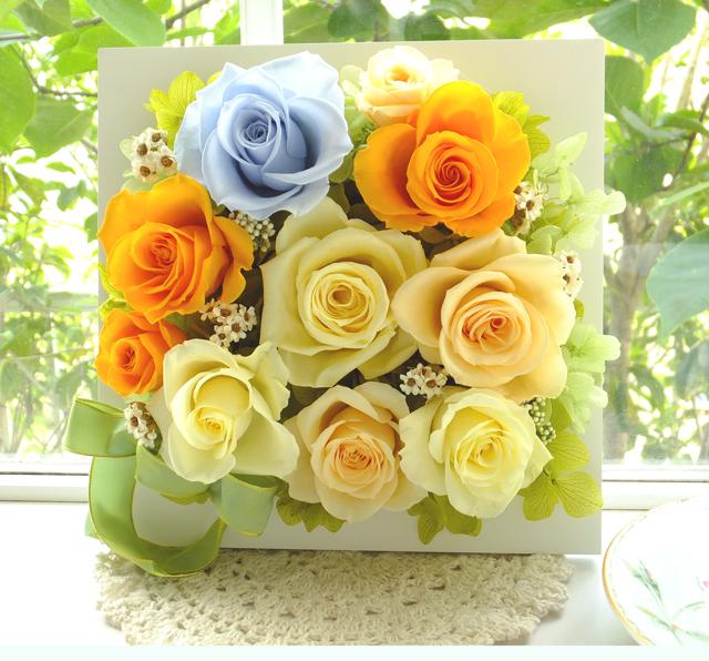 140529 水色のバラとビタミンカラーの壁掛け オーダーメイドプリザーブドフラワー