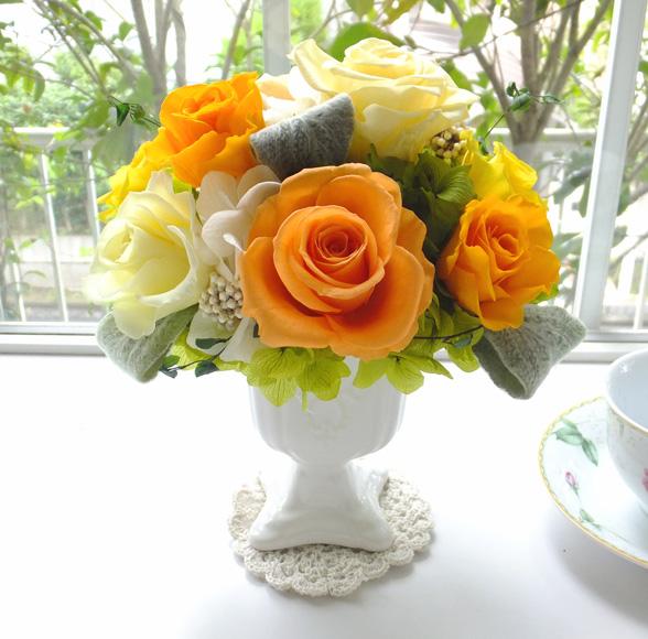 150723 イエロー、オレンジ系バラの優雅なポットアレンジ  オーダーメイドプリザーブドフラワー