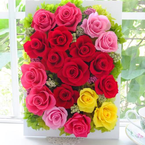 150806 レッド、ピンク、イエローバラの華やかな壁掛け オーダーメイドプリザーブドフラワー