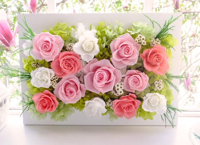 160313 ピンクと白バラのナチュラル壁掛け オーダーメイドプリザーブドフラワー