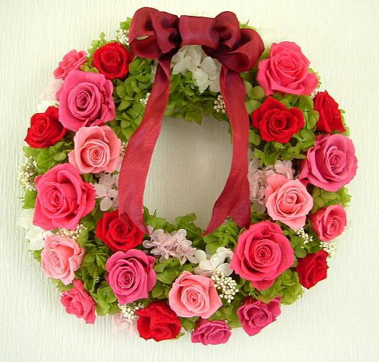 090403 赤とピンク系バラのリース オーダーメイドプリザーブドフラワー