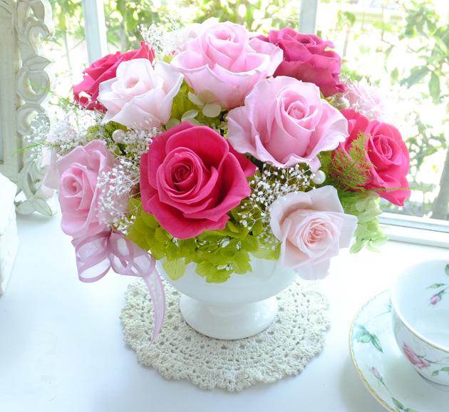 140502 ピンク系バラとアジサイのポットアレンジ オーダーメイドプリザーブドフラワー