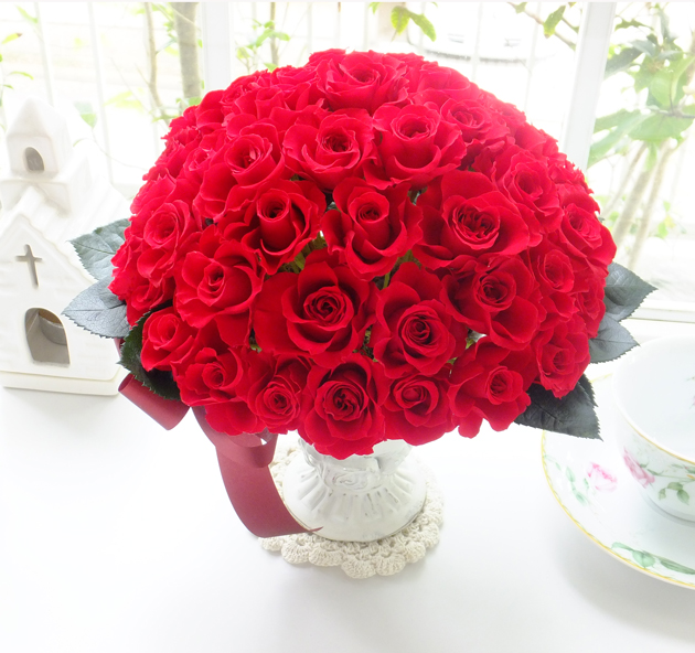 161004 還暦祝い赤バラ60本アレンジオーダーメイドプリザーブドフラワー