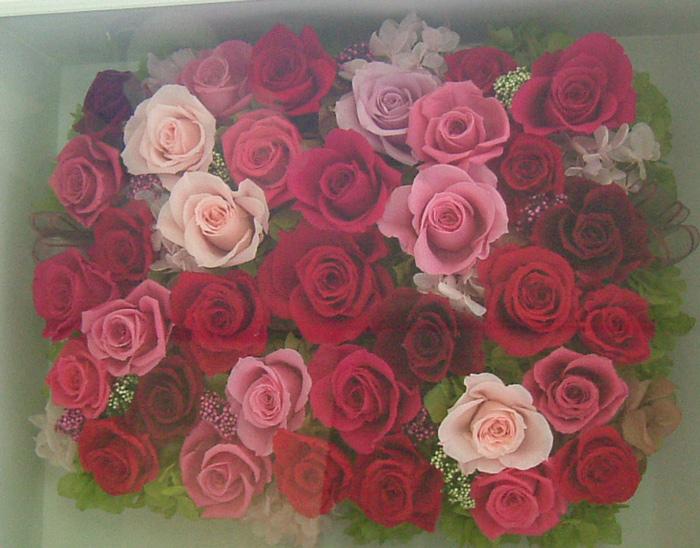 120806 赤とピンクバラの華やかな大きな壁掛け  オーダーメイドプリザーブドフラワー