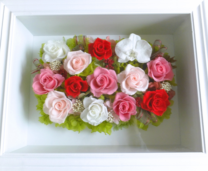 170511 胡蝶蘭、 レッド、ホワイト、ピンクバラの大きな壁掛け オーダーメイドプリザーブドフラワー