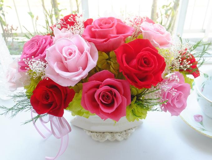 170408 ピンクと赤バラの横長ポットアレンジ オーダーメイドプリザーブドフラワー