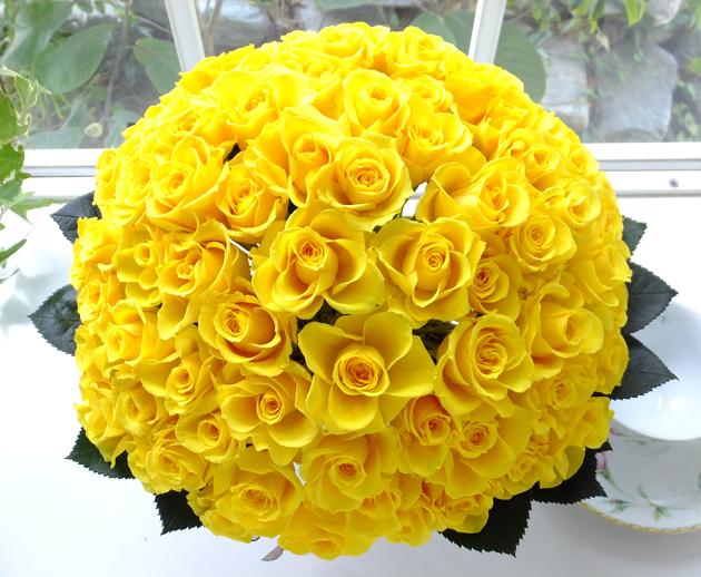 160903 黄色バラ88本米寿祝いアレンジ オーダーメイドプリザーブドフラワー