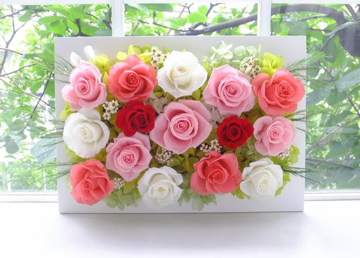 180610 ピンクと白と赤バラのナチュラル壁掛け オーダーメイドプリザーブドフラワー
