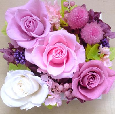 180802 ピンクとライラック色のバラの壁掛け オーダーメイドプリザーブドフラワー