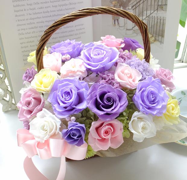 160510 薄紫、薄ピンク、イエロー系バラのバスケットアレンジ オーダーメイドプリザーブドフラワー