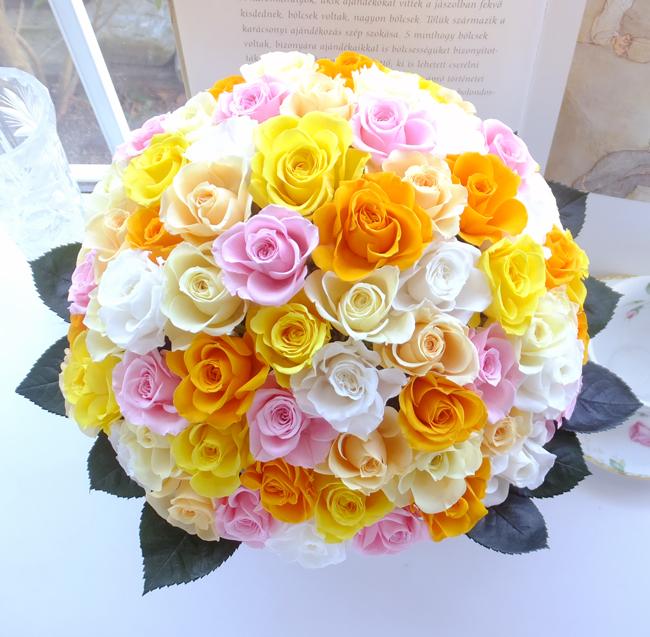 190316 ミックス色のバラ88本米寿祝いアレンジ オーダーメイドプリザーブドフラワー